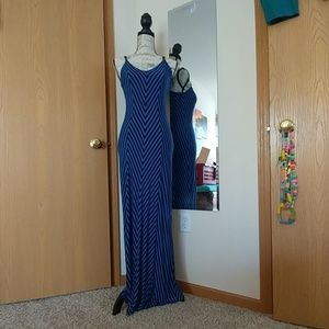 Gorgeous Blue and Black Striped Maxi Dress
